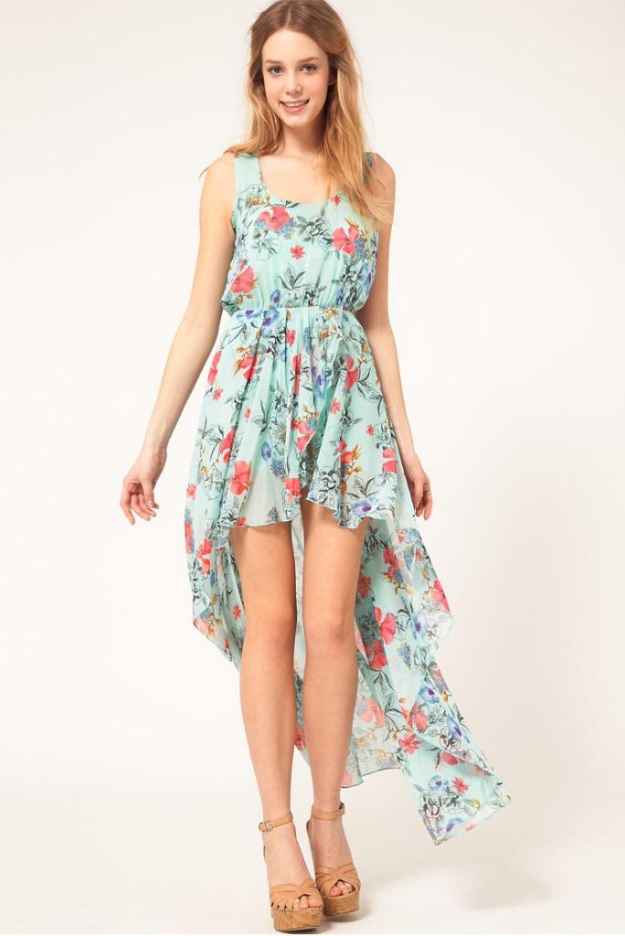 Light blue bohemia floral sleeveless chiffon asymmetrical dress