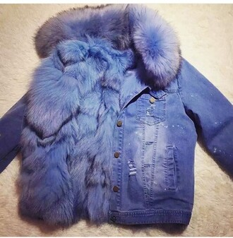 jacket fur fur coat blue jeans denim jacket cute outfit coat fur denim jacket navy burgundy