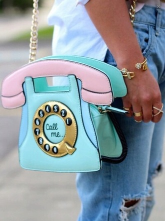 bag vintage mint pink telephone phone