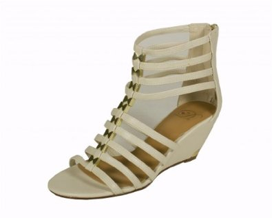 Amazon.com: delicious women's kaylin open toe strappy middle metal gold bracket gladiator medium heel sandal off white leatherette: shoes