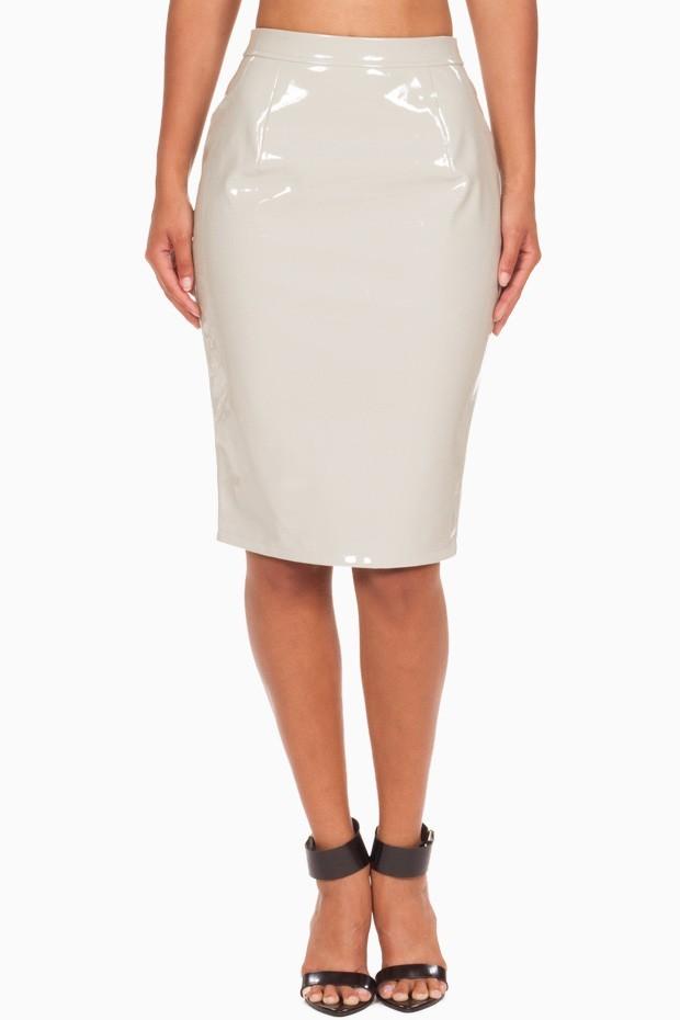 Ladies pu pencil skirt