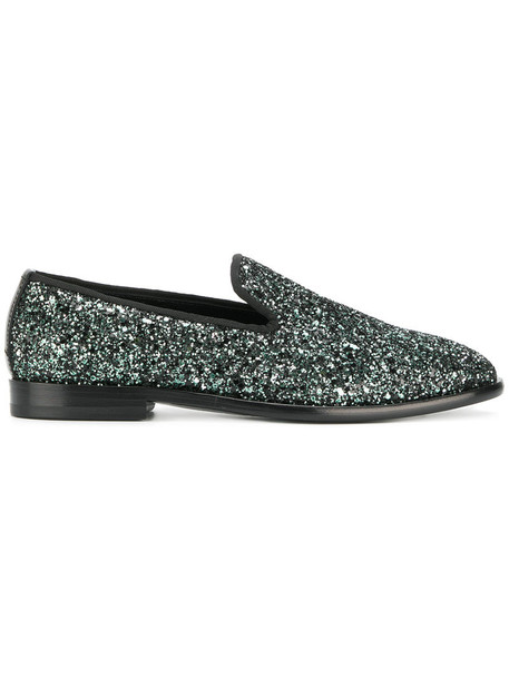 glitter women loafers leather cotton grey metallic shoes