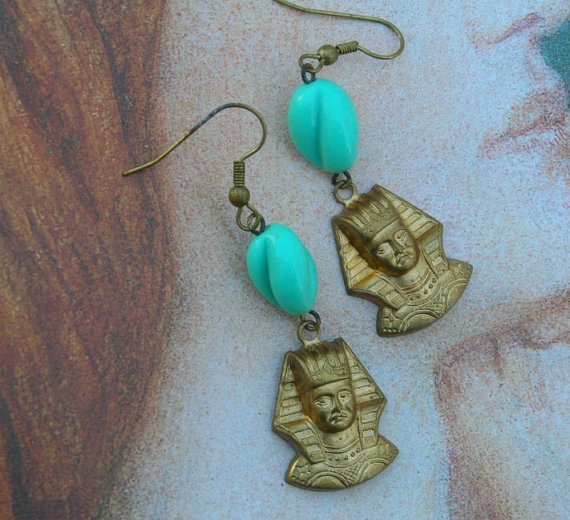 Egyptian revival king tut pharaoh turquoise glass par lilisgems