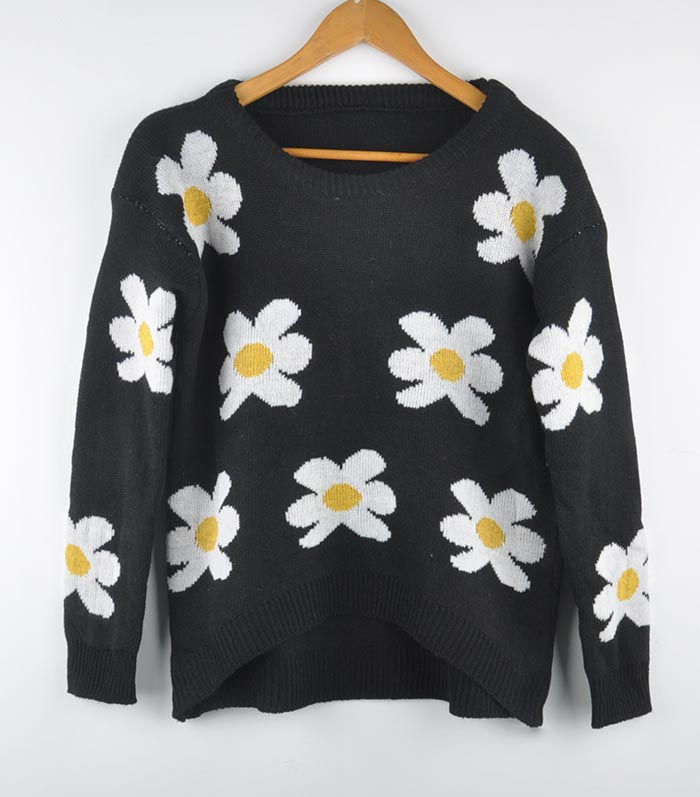 Womens lady daisies sunflower pullover jumper loose sweater knitwear coat tops
