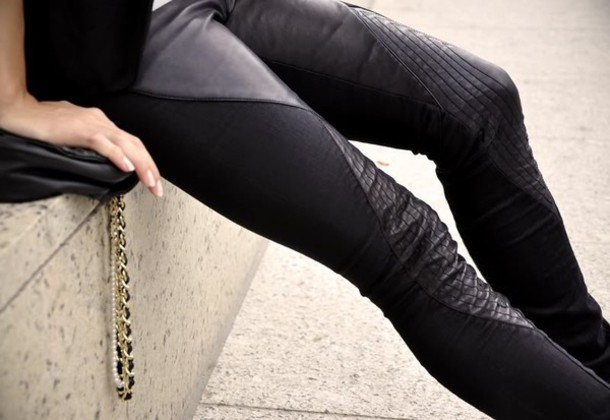 pants leather leggings double black leggings