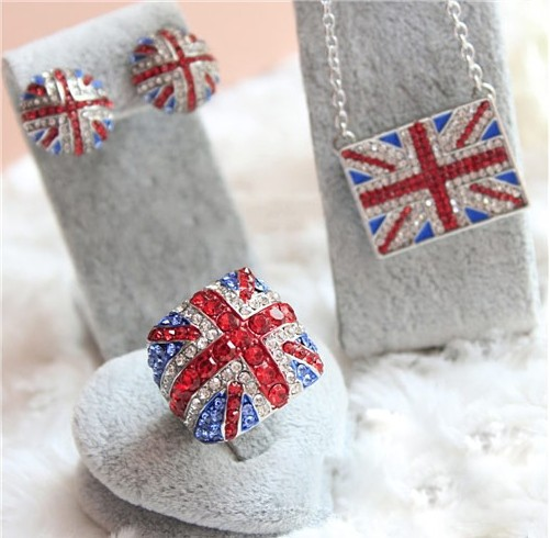 Free shipping fashion full rhinestone jewelry sets british uk flag stud earrings necklaces rings party gifts on aliexpress.com
