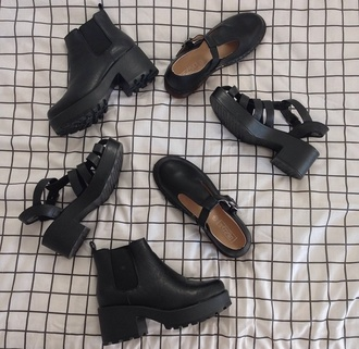 shoes black shoes indie cute platform shoes mary jane pretty