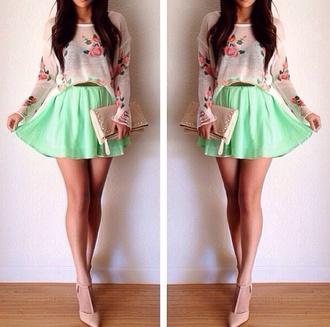t-shirt floral beige cute skirt mint green skater skirt floral cropped sweater