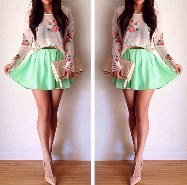 t-shirt flowers floral beige cute skirt mint green skater skirt sweater floral pattern cropped sweater