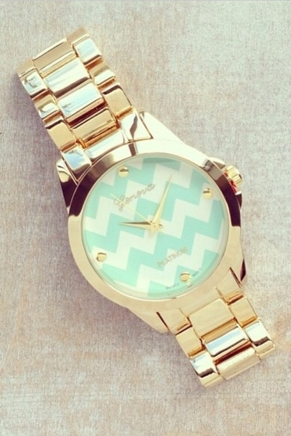 jewels gold watch watch geneva i need this help stripes blue and white