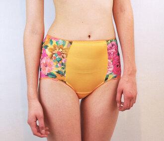 cute shorts floral hippie indie hipster hippie shorts yellow yellow shorts floral shorts print high waisted high waisted high waisted shorts vintage underwear