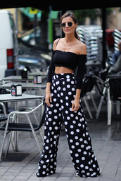 top,crop tops,pants,wide-leg pants,polka dots pants,shoes,bag,sunglasses