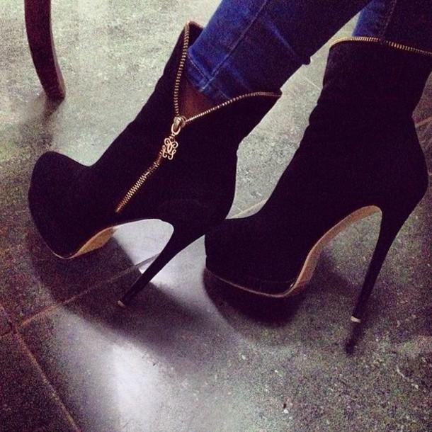 shoes high heels boots black high heels high heels boots booties black heels black gold heels black and gold heels black bootie heels