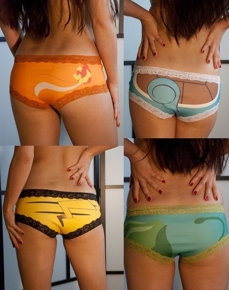 underwear pokemon cute boyshorts pikachu underewear pants cute underwear knickers panties nerdy pokemon, lace, cute, colorful