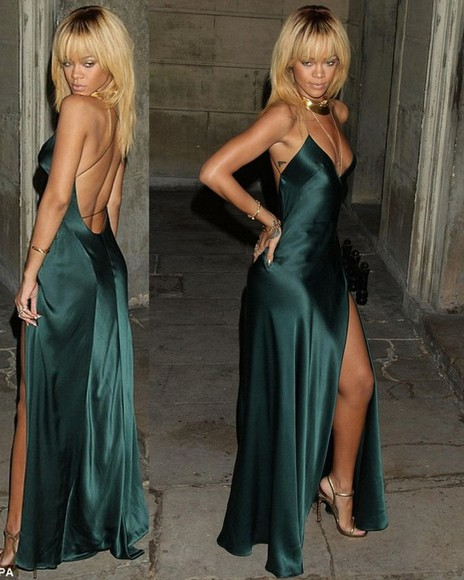 dress maxi dress rihanna slit dress green dress green gown slit maxi dress slit gown celebrity dresses