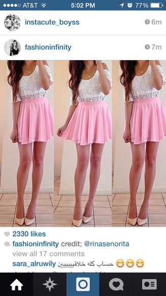 pink skirt fashion blouse Flower lace white t-shirt