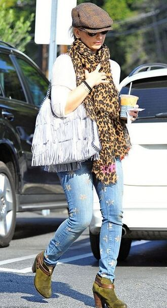 jeans scarf sarah michelle gellar boots ankle boots bag shoes