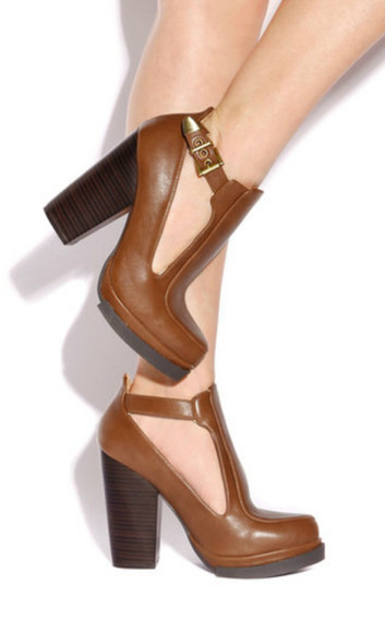 cut-out shoes brown boots high heels