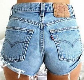 "Vintage High Waisted Levis Denim Shorts Cut Offs XL 38"" 39"" US Size 14 16 