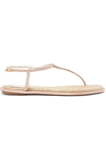 embellished sandals leather satin neutral shoes