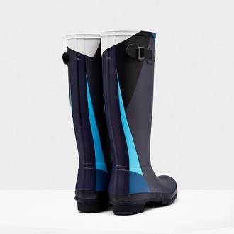 shoes blue wellies geometric