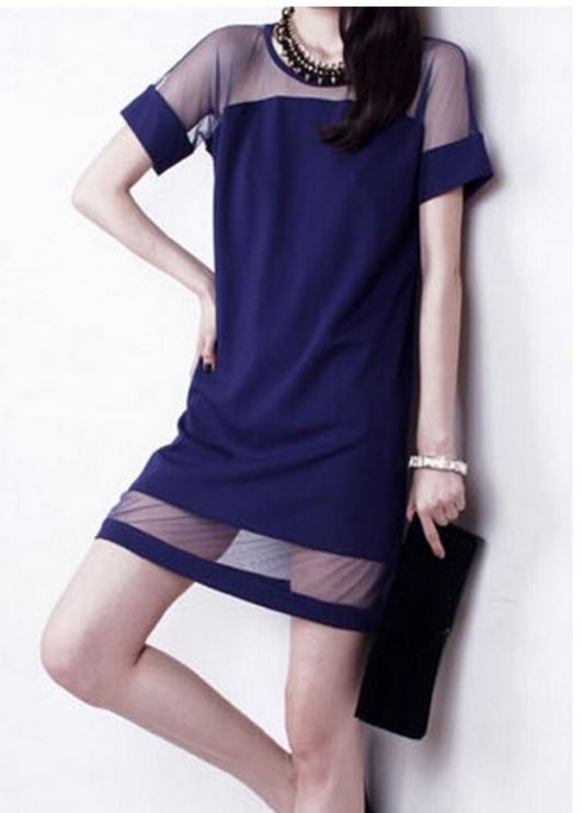 Blue shift dress with contrast mesh panel