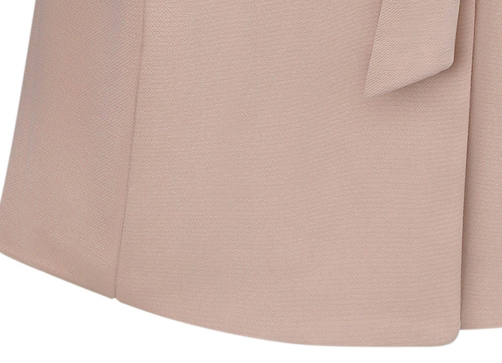 Pink Lapel Long Sleeve Belt Pockets Coat - Sheinside.com