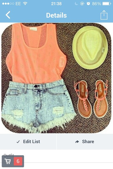 orange tank top top orange top shoes shorts light wash