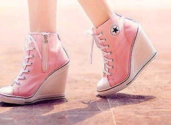 shoes wedge converse pink pumps