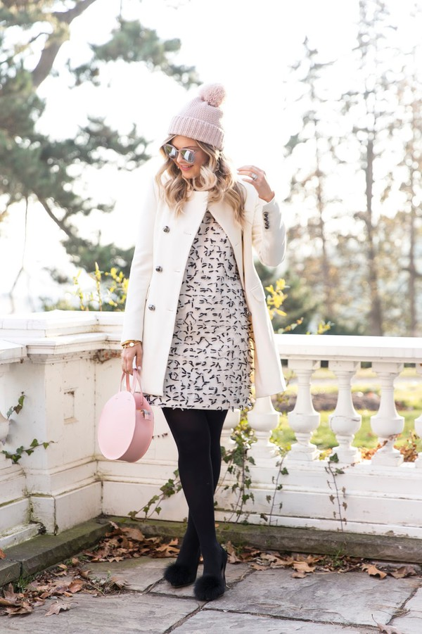 suburban faux-pas blogger hat coat dress leggings shoes bag sunglasses jewels winter outfits beanie round bag pumps white coat