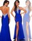 Luxury royal blue chiffon halter dress mermaid evening pageant party prom gown