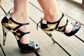pumps,black shoes,yellow shoes,shoes