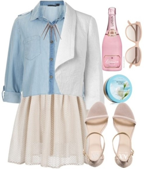 necklaces denim coat skirt blouses soft pink spring summer 2014 pastel