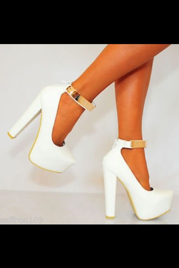 shoes high heels ankle strap ankle strap heels white high heels dress white gold