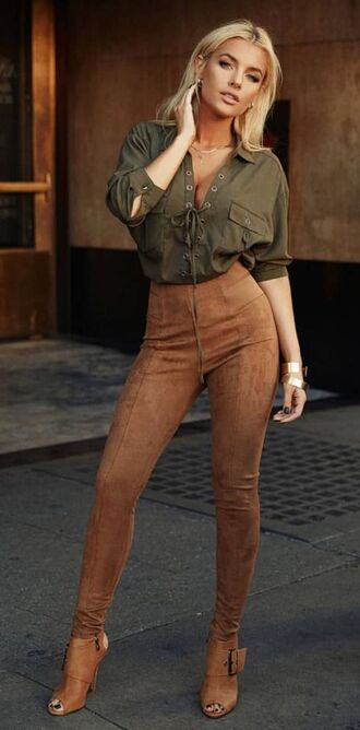 pants suede pants brown pants shoes brown shoes sandals shirt green shirt fall outfits