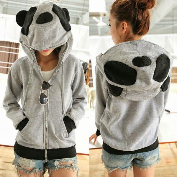Women Cute Zip Up Panda Ears Womens Hoodie Outwear KIGURUMI sweat Sweatshirt Top   eBay