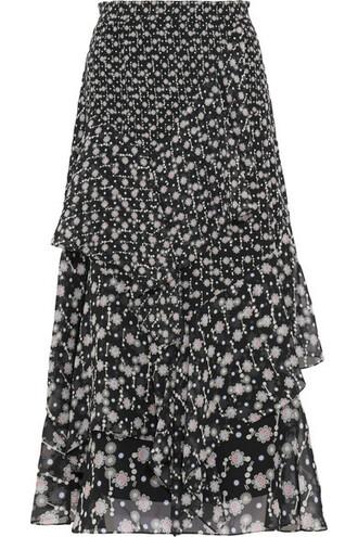 skirt midi skirt midi floral print black silk