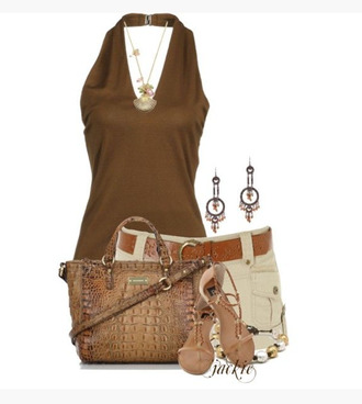 tank top top halter top bronze burnt umber burnt umber brown v neck shorts khaki shorts necklace pendant earrings bag purse shoes sandals form fitting clothes outfit shirt