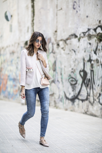 lovely pepa blogger jacket bag top sunglasses white top skinny jeans mini bag round sunglasses