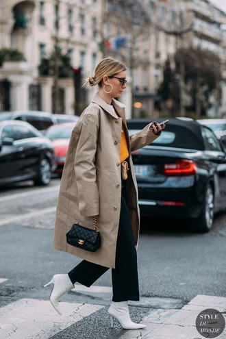 shoes boots white boots coat oversized coat oversized black pants bag ankle boots trench coat streetstyle chanel