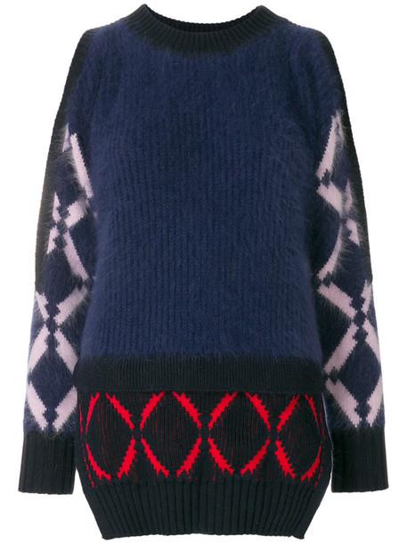 Versace - open shoulder sweater - women - Polyamide/Angora/Wool - 40, Blue, Polyamide/Angora/Wool