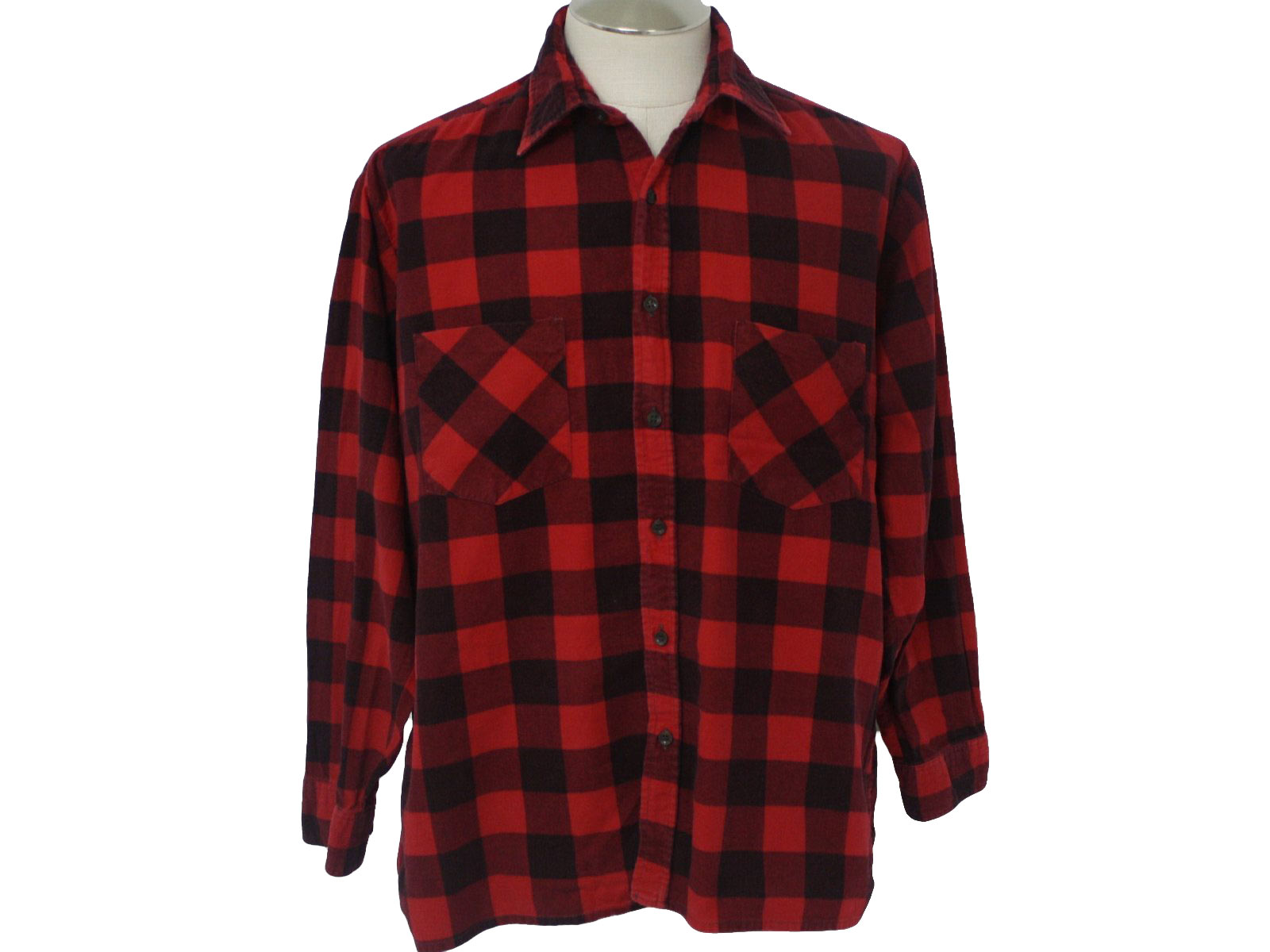 80s Retro Shirt: 80s -Open Trails- Mens red and black cotton flannel shirt with folding collar, button front, and two open patch chest pockets.