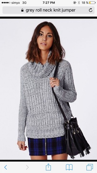 sweater turtleneck sweater grey sneakers knitted sweater