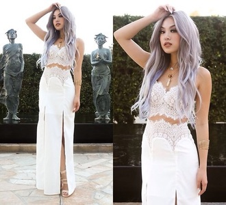 dress two-piece lace top lace dress white dress white top white skirt white crop tops slit skirt slit dress high waisted skirt outfit fashion style