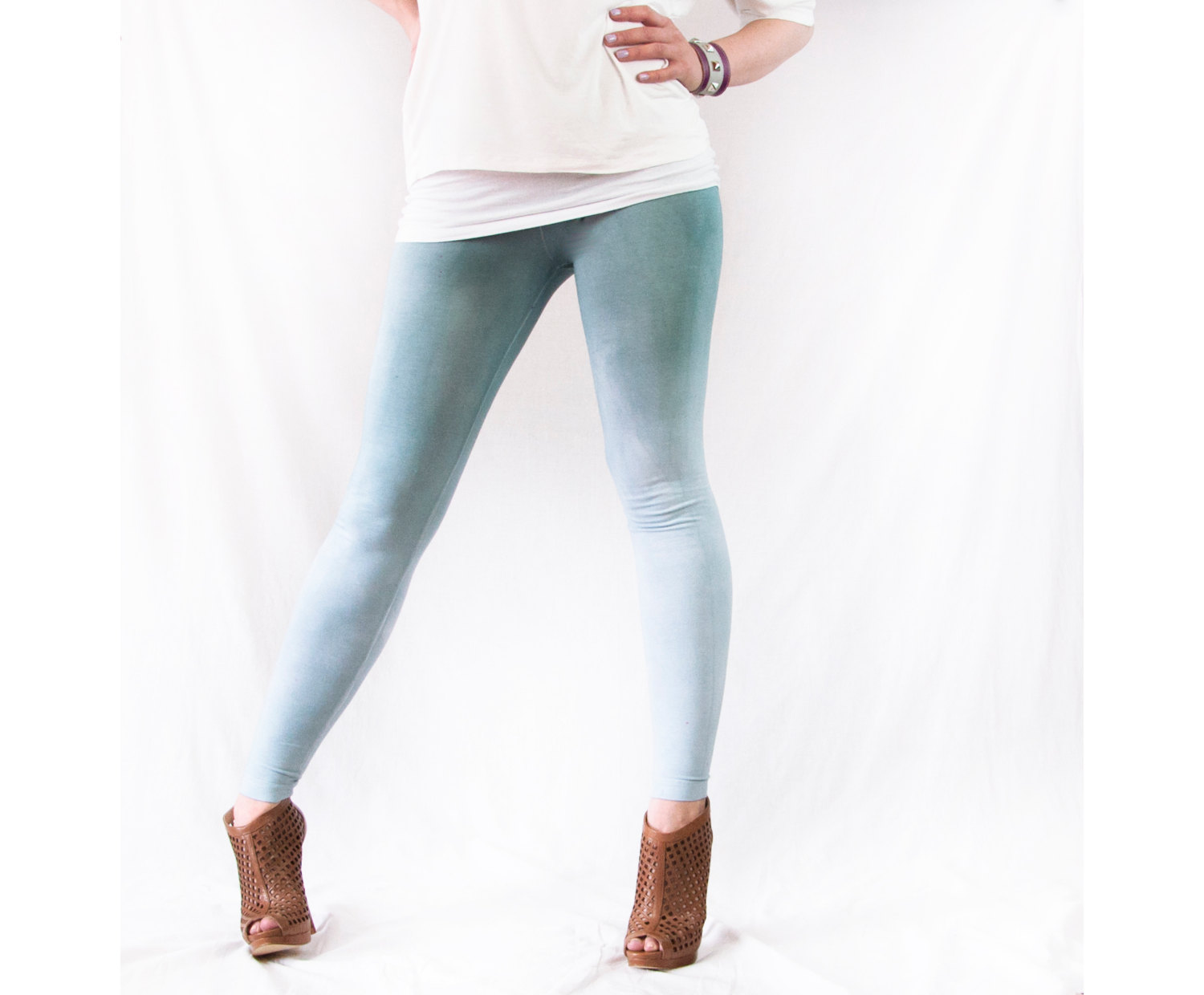 SALE Grey Leggings Womens Cotton Yoga Gray Ombre Tights SMALL Crossfit Workout Pants Hand Dyed Dip Dye