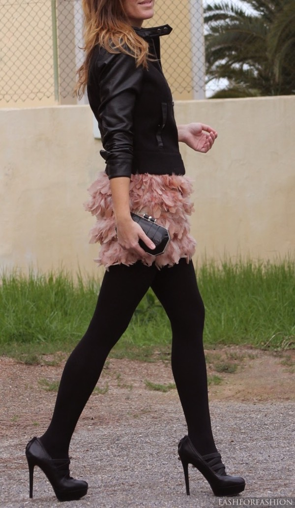 skirt fashion fashionable leather jacket perfecto pink skirt fluffy