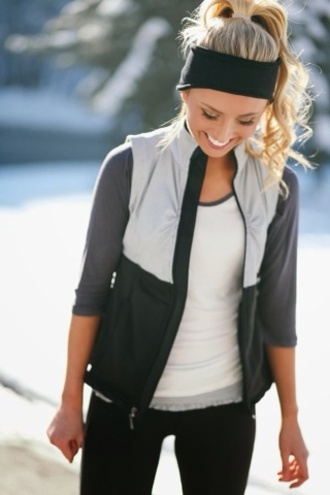 shirt vest jacket hair accessory workout headband this vest black gray hoodie zipup top gym fall outfits winter outfits running fitness workout fashion style