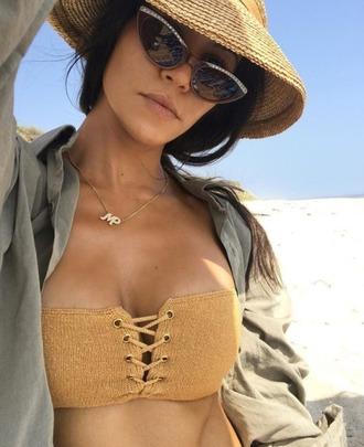 swimwear bikini bikini top straw hat kourtney kardashian kardashians instagram