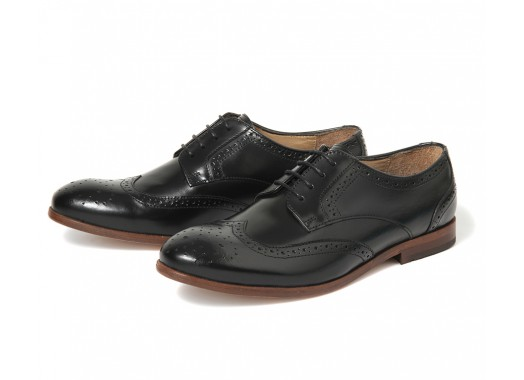 Women's Paddi (Black) Leather Brogue   H by Hudson