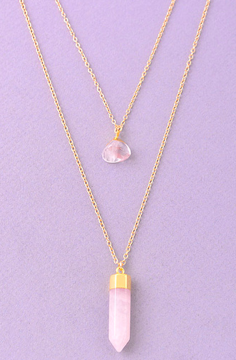 Double layered pointed crystal stone pendant necklace
